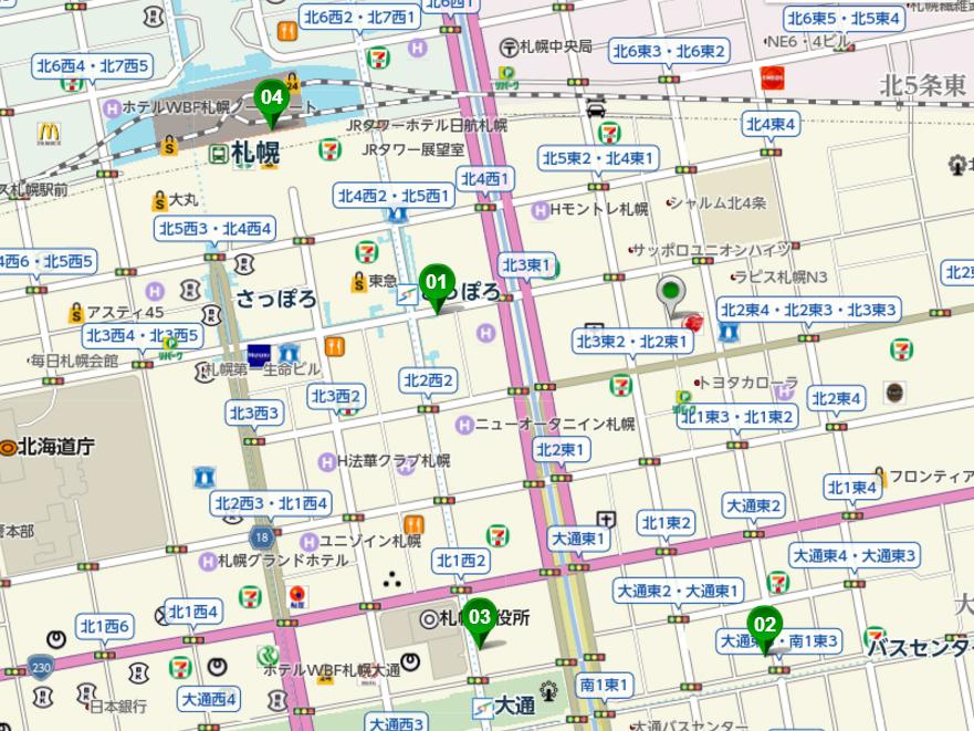 01さっぽろ 02バスセンター前 03大通 04札幌