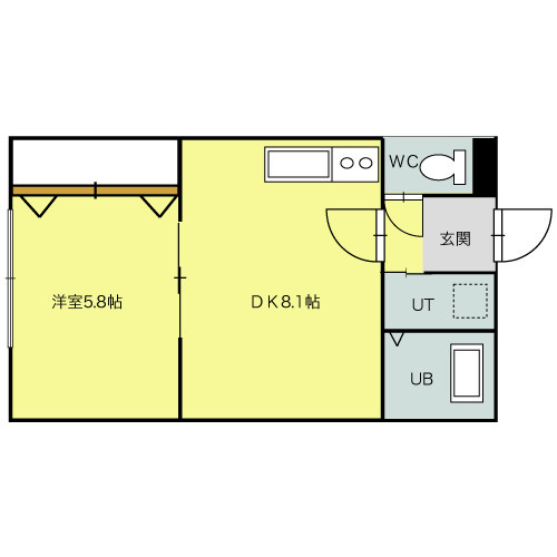 「北海道札幌市北区 1DK 」間取図画像