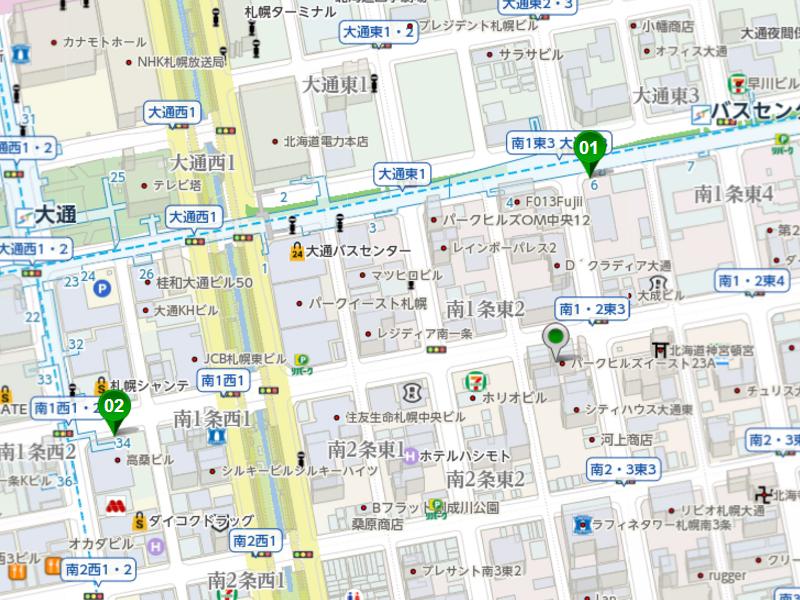 01バスセンター前 距離173m 徒歩2分 02大通 距離367m 徒歩5分