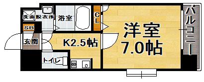 「Kマンスリー箱崎駅前」間取図画像