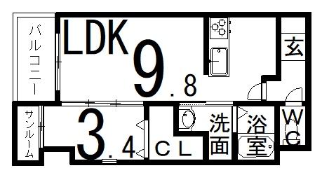 「RBマンスリー福井 KUKKA」間取図画像