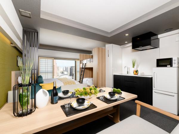 京都のウィークリーマンション・マンスリーマンション「アパートメントホテル MIMARU 京都 STATION 大和ハウスグループのアパートメントホテルです!長期滞在に最適なリビングダイニング付き、40㎡のセミスイートルーム!!ルーフトップもございます!!」メイン画像