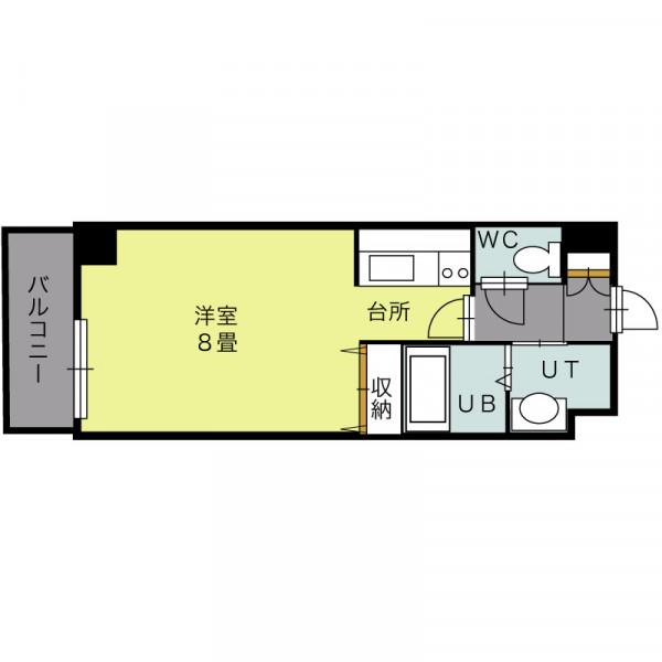 「北海道札幌市北区 1K 」間取図画像