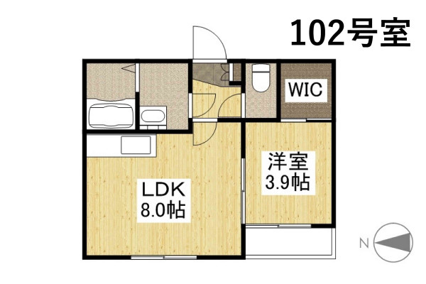 「Kマンスリー岡大病院東【喫煙可・岡山駅前】」間取図画像
