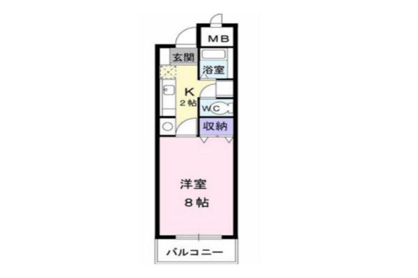 「Kマンスリー丸亀南【禁煙】」間取図画像