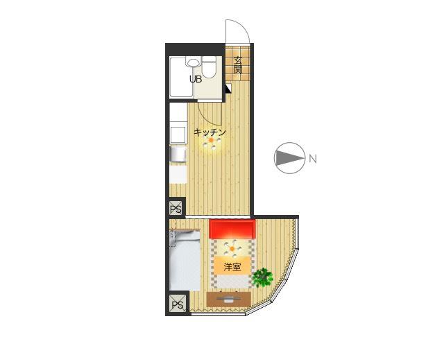 変わった間取りの1R♪家具家電完備でさらに備品も充実しておりますのでご満足いただけるお部屋となっております。